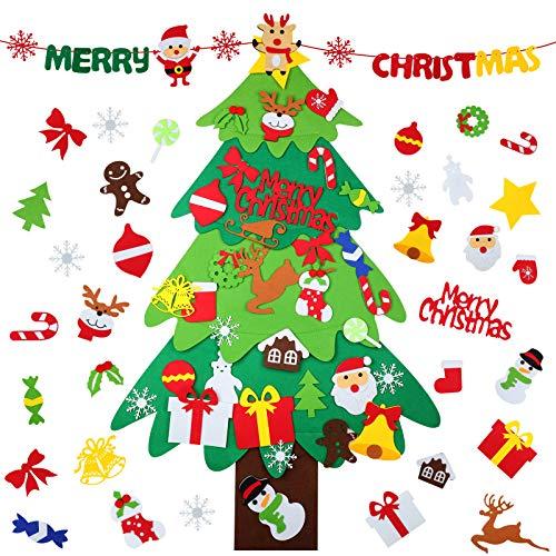 WD&CD Árbol De Navidad De Fieltro, 3.3ft x 2.1ft Fieltro Árbol De Navidad DIY, Árboles De Navidad Decoración con 33 Ornamentos Desmontables y Una Guirnalda, Juguetes de Pared para el Hogar de Navidad