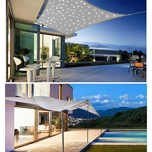 WEDSGTV Sonnensegel Rechteckig Mit LED Beleuchtung Licht, Sonnenschutz Wasserdicht Polyester Oxford Stoff Mit 95% UV-Block Markisen Für Draußen Terrasse Balkon Und Garten,Grey-3X3m