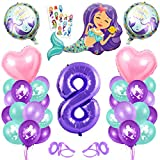 Sirena Decoración de Cumpleaños 8,Numero 8 Morado Gigantes Aluminio Globos Decoracion,Globos 8 año Cumpleãnos Sirena Niña Látex Globos Fiesta Party Decoración