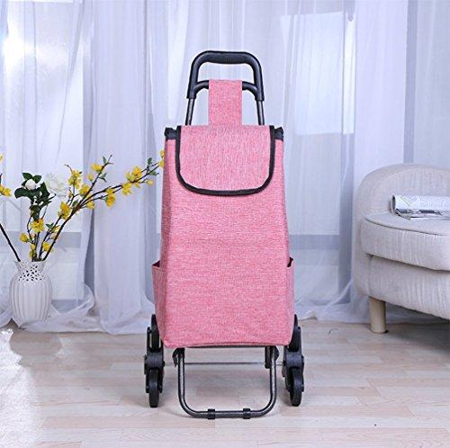 Einkaufstrolley 35L Falten Treppen Steigen Einkaufsroller Lebensmittelgeschäft Wäscheservice 6 Radlager Edelstahlrahmen Einkaufswagen Wagen,Pink