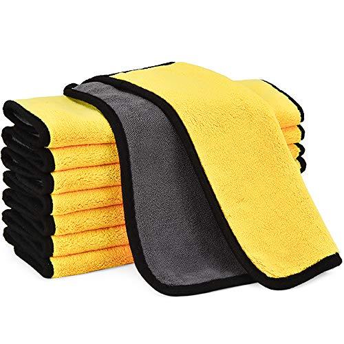 プロ仕様 洗車タオル より厚い マイクロファイバークロス 8枚セット 30cm x30cm 拭き取り用 洗車職人のこだわり 吸水 速乾 柔らかい 両面タイプ 傷防止 洗車 家事用 掃除 ふき取り