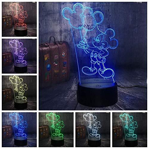Eeue en leuke Mickey Mouse, die een nachtlampje bureaulamp van ballon-Karikatuur-3D LED kindtisch verjaardagscadeau voor binnenshuis houdt.