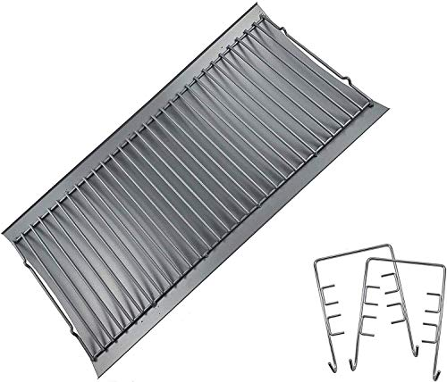 """Replace parts Aluminized Steel Ash Pan with 2 pc Fire Grate Hanger, Replacement for Chargriller Charcoal 1224, 1324, 2121, 2222, 2727, 2828, 2929, Charbroil 17302056 Grill(27"""" X 13 1/4"""")"""