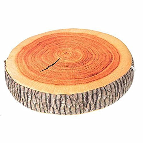 Rurah 3D Stump Shaped Pillow, Simulation Wood Cutting Board Shaped Wood Pillow For Decorative Seat Cushion