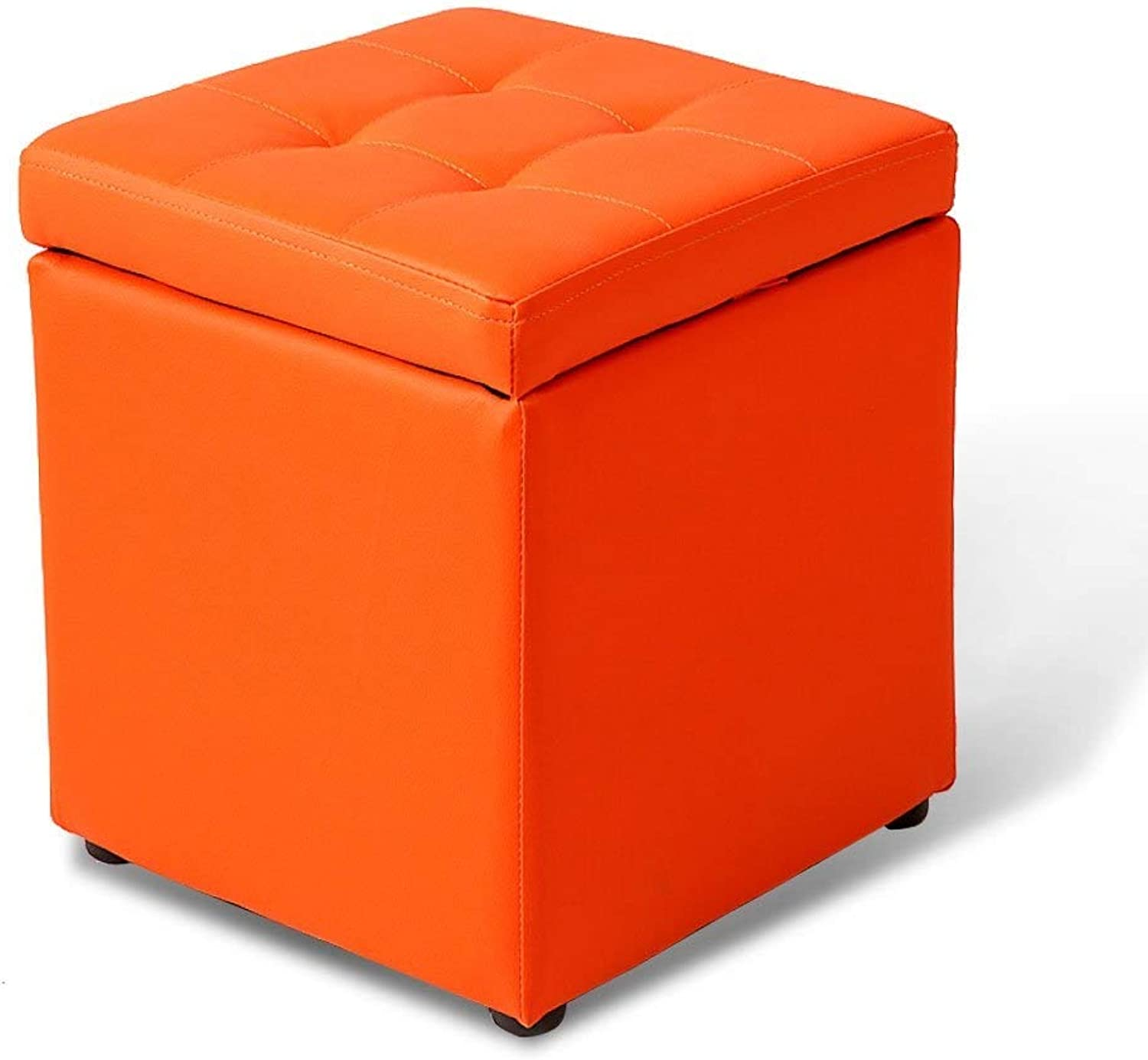 Leather Square Storage Stool Modern Fashion Simple Creative Sofa Living Room Bedroom Stool shoes Replacement Stool FENPING (color   orange)
