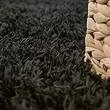 Paco Home Hochflor Wohnzimmer Teppich Waschbar Shaggy Uni In Versch. Größen u. Farben, Grösse:80×150 cm, Farbe:Schwarz - 3