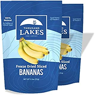 Thousand Lakes Freeze Dried Fruits and Vegetables - Banana 2-pack 3.2 ounces (6.4 ounces total) | 100% Fruit | No Sugar Added
