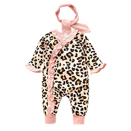 Verve Jelly 0-6 Months Infant Baby Girls Fall Winter Outfits Leopard Print Ruffle Long Sleeve Romper with Headband 2Pcs Leopard Clothes Set Pink