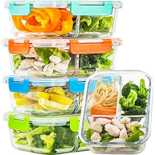 Glasbehälter für Mahlzeiten, 3 Fächer, luftdicht, 100 ml, Glas-Bento-Box, 5 Stück