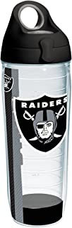 Tervis 1231144 NFL Oakland Raiders Stripe Tumbler with Wrap and Black with Gray Lid 24oz Water Bottle, Clear