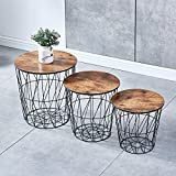 <span class='highlight'><span class='highlight'>Ansley&HosHo</span></span> Accent Round Nesting of Table Set of 3 Small Side Coffee Table for Living Room Girl Bedroom End Little Table Occasional Metal Grid Frame and Wood Tabletop Space Saving (Espresso)