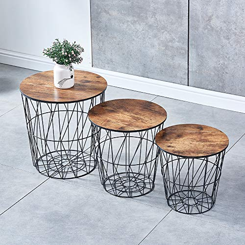 Ansley&HosHo Accent Round Nesting of Table Set of 3 Small Side Coffee Table for Living Room Girl Bedroom End Little Table Occasional Metal Grid Frame and Wood Tabletop Space Saving (Espresso)