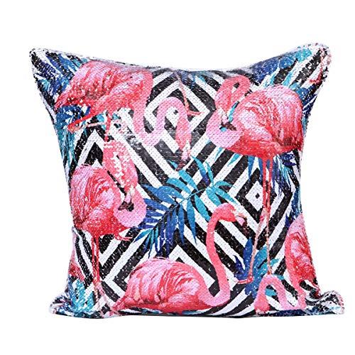 Puseky Dreamy Flamingo Patterns Lentejuelas Decorativas Funda de Almohada Cremallera Oculta para...