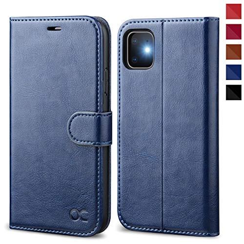 OCASE iPhone 11 Hülle Handyhülle [Premium Leder] [Standfunktion] [Kartenfach] [Magnetverschluss] Tasche Flip Hülle Cover Etui Schutzhülle lederhülle flip case für iPhone 11 Blau