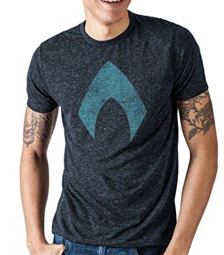 DC Comics Justice League Movie Hombres Aquaman Logo Camiseta (X-Large)