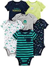 Simple Joys by Carter's Baby Boys 6-Pack Short-Sleeve Bodysuit, Navy/Turquoise, 12 Months