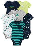 Simple Joys by Carter's Unisex-Baby 6-pack Short-sleeve Bodysuit Body, 3x Blau verschiedene Motive, Grau, Weiß, Grün, 12 Monate