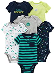 Six short-sleeve bodysuits in baby-soft cotton featuring stripes, prints, and solids Expandable lapped necklines Nickel-free snaps on reinforced panels Trusted Carter's quality, everyday low prices, and hassle-free packaging