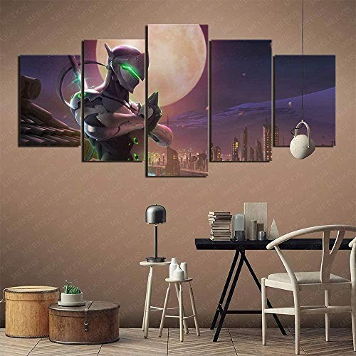 wodclockyui Leinwanddrucke 5 stück- Genji Overwatch Malerei 5 Panel Leinwand Innenwand HD Kunstdekoration Gemälde und Poster 200cmx100cm Rahmenlos