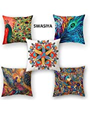 Swasiya™ Jute Printed Digital Desgin Decorative Sofa Cushion Cover Pack of 5 (40x40 cm or 16x16 Inch)- Set of 5 // Design - 99