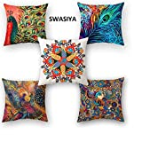 Swasiya Satin Printed Digital Desgin Decorative Sofa Cushion Cover Pack of 5 (40x40 cm or 16x16 Inch)- Set of 5