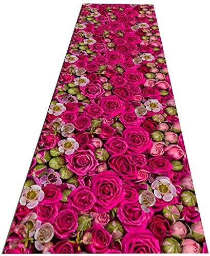 RUG RUNNER 3D Stereo Roze Rose Niet Slip Thuis Woonkamer Binnen Tapijt Runners, Extra Lange Hal Trappen Smalle Doorgang Vloerbedekking Tapijten, Grootte Aanpasbaar