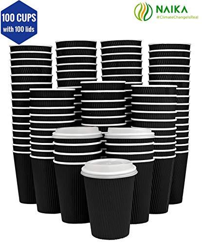 Umweltfreundlich | 237 ml schwarze geriffelte PLA-Kaffeetassen | Einweg-Pappbecher für unterwegs, perfekt für große Büros, Partys und Cafés | 100 PLA-Tassen