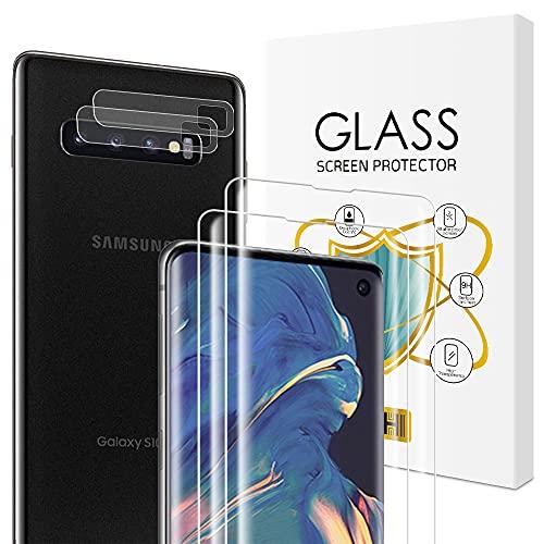 Carantee Panzerglas Schutzfolie für Samsung Galaxy S10 [2Stück] + Samsung S10 Kamera Panzerglas [2Stück], 9H Härte, Anti-Kratzen, Anti-Öl, Anti-Bläschen, Ultra Dünn Displayschutfolie