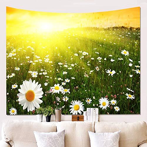 DreamyDesign 3D Gedruckte Wandverkleidung Tapisserie Gänseblümchen Wandteppich Chrysantheme Thema Tapisserie Hintergrundwand Wanddekoration (Weiß 2-100 x 150 cm)