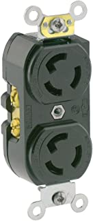 Leviton 4700 15 Amp, 125 Volt, NEMA L5-15R, 2P, 3W, Duplex Locking Receptacle, Industrial Grade, Grounding, Black, Common Feed Only