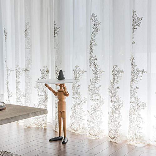 Luxuriöse Prinzessinnen-Tüll-Vorhänge für Schlafzimmer, romantische, weiße, durchsichtige Vorhänge für Wohnzimmer, bestickte 3D-Garn, Mädchen-Voile-Vorhang, weißer Tüll, 1 Meter Stoff, Stange