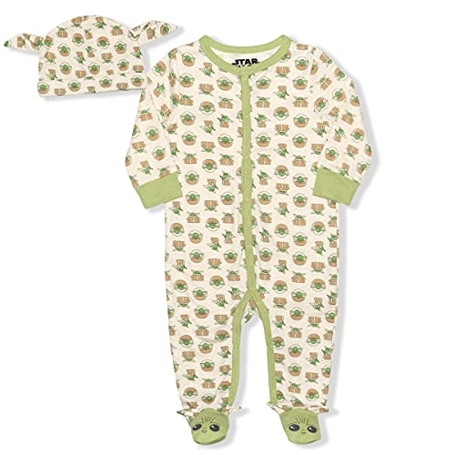 Lucasfilm Boy's The Mandalorian The Child Footed Coverall Bodysuit Creeper with Hat Set, Beige, 0-3 Months