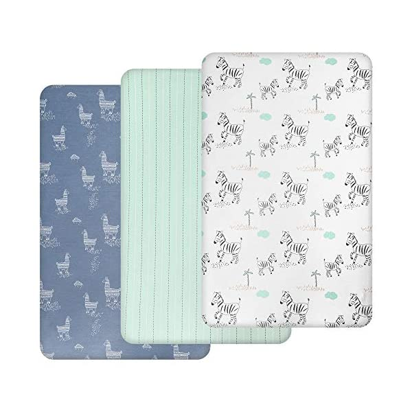 TILLYOU 3 Pack Jersey Knit Stretchy Pack N Play Ftted Mattess Sheets, Thicker Softer Mini Crib Sheets Set for Baby Boys Girls, Ultra-Soft Breathable Playard Playpen Sheets, Grassland