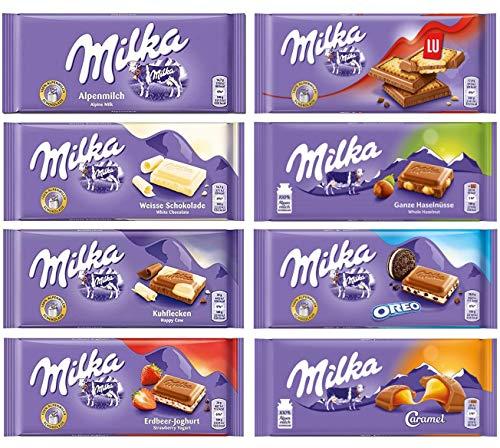 Milka Assorted Chocolates Variety Pack of 8 Bars (Bundle #2)
