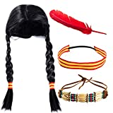 Tigerdoe Indian Maiden 4 Pc - Indian Costume Wig - Thanksgiving Native American Costume - Indian Warrior
