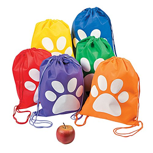 Paw Print Drawstring Backpack (Set of 12) Bright Assorted Colors