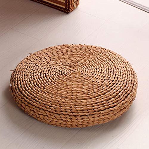 QIANBAOBAO Maismasker, handgewikkeld van stro, bekleed Futon-kussen, rond, meditatie, raam, Iteriële mat van stro, stoelkussen voor kinderwagen, 70 x 70 cm
