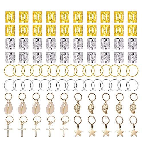 140 Pezzi Anelli Gioielli per capelli Clip Alluminio Dread Locks Capelli regolabili Cuffie perline Trecce accessori