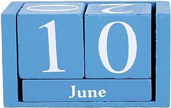 BOBEINI Vintage Houten Eeuwige Kalender Eeuwige Blokken Maand Datum Display Desktop Accessoires Fotografie Props Home Offi...