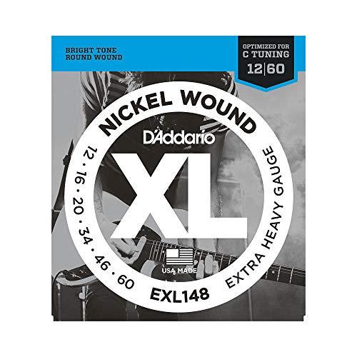 D'Addario EXL148 Drop C Tuning Satz Nickelsaiten für E-Gitarre 012' - 060' Extra Heavy