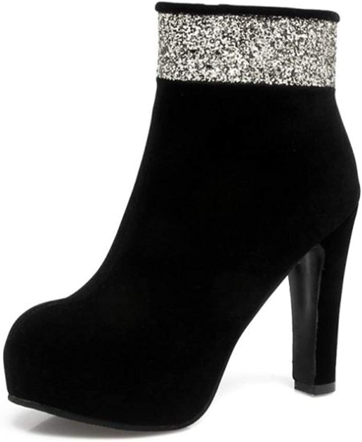 CHENSF Women's Sexy Stiletto Round Toe Zipper Sequins High Heel Ankle Boots