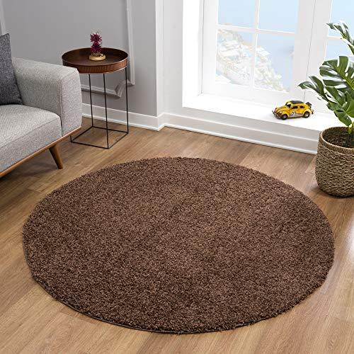 Impression Teppich Rund - Perfect Teppiche fürs Wohnzimmer, Flur, Schlafzimmer, Kinderzimmer, Babyzimmer - Hochwertiger Öko-Tex Zertifizierter Flächenteppich - Solid Color Dunkelbraun-150 cm Rund
