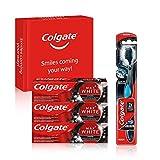 Colgate Kit blancheur au charbon avec 3 Dentifrice blanchissant Colgate Max White Charbon Actif 75ml et la brosse à dents blancheur Colgate 360 Charbon