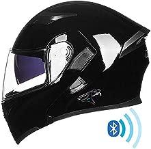 ILM Bluetooth Motorcycle Helmet Modular Flip up Full Face Dual Visor Mp3 Intercom FM Radio DOT Approved (Gloss Black, L)