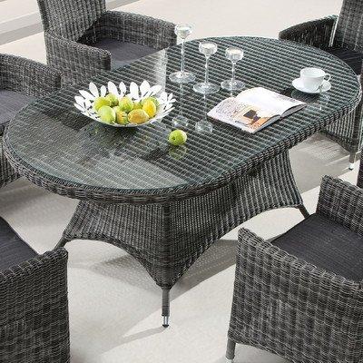 Destiny Santos Tisch Oval 180 x 100 cm Polyrattan Gartentisch Geflechttisch Esstisch Grau (76531)