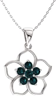 Natural and Certified Gemstone Flower Necklace in 14k White Gold | 0.21 Carat Pendant with Chain