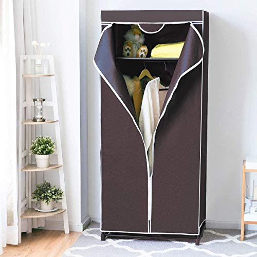 Tangkula Portable Clothes Closet Freestanding Wardrobe Clothes Storage Organizer with Hanging Rack & Waterproof Non-Woven Fabric Cover(Coffee)