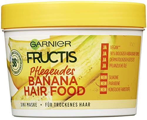 Garnier Fructis Pflegendes Banana Hair Food, 3-in-1 Maske für trockenes Haar, pflegt und verleiht dem Haar mehr Geschmeidigkeit, 390 ml