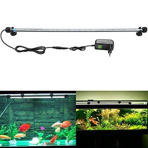 SUBOSI FVTLED Blanco Color Lámpara de Acuario 8W 62CM 33 Luces SMD5050 LED Lampara Tira Pecera Sumergible Submarino Luz