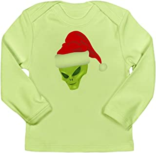 Long Sleeve Infant T-Shirt Green Alien Head with Christmas Santa Hat